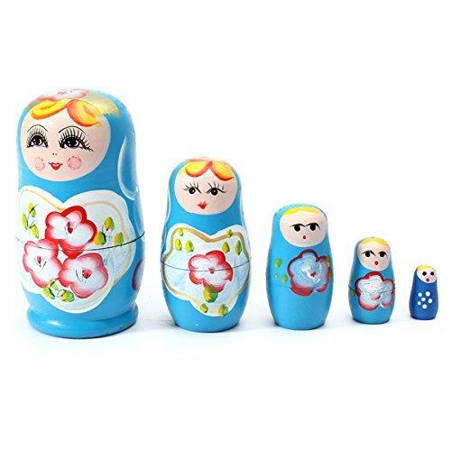 Makarine 1 Set 5 PCS Matryoshka Russian Nesting Dolls Toy Wooden Doll Girl Childrens ToyBlue