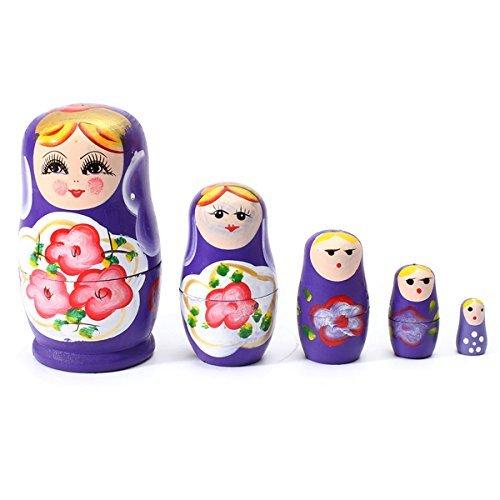 Makarine 1 Set 5 PCS Matryoshka Russian Nesting Dolls Toy Wooden Doll Girl Childrens ToyPurple
