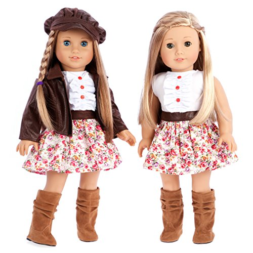 Urban Explorer - 18 inch doll clothes - Brown Motorcycle Jacket with Paperboy Hat Dress and Boots - doll not included