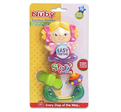 Nuby Baby Girl Easy Teether and Spin N Teethe Combo Set