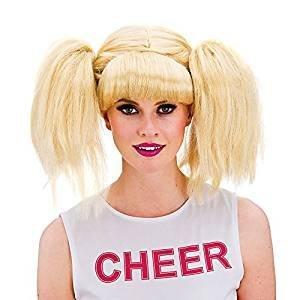 Ladies Blonde Bunches Cheerleader School Girl Wig Fancy Dress by Wicked Wicked