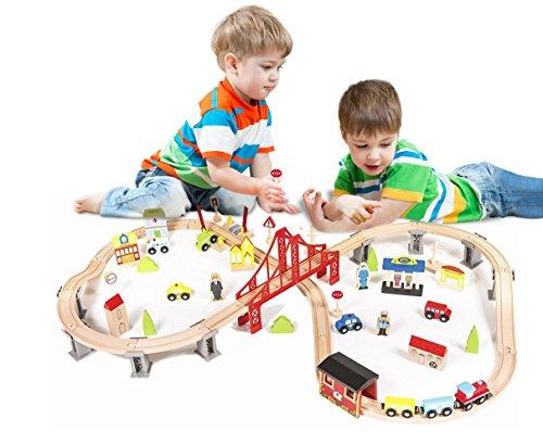 Metropolis City Life Super Highway 70 Pieces Wooden Railway Train Set - Compatible with all major brands