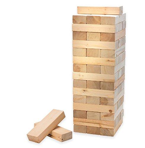 Jumbo Clean Smooth-Edged Pine Wood 48 Blocks Stacking Game 35 Feet Fully Stacked