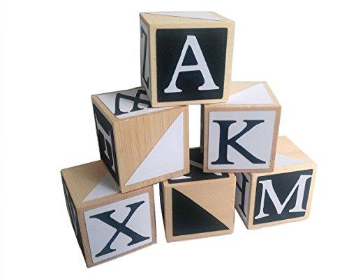Black and White Wooden Alphabet Baby BlocksToddler Toy Blocks Learning Blocks Wood Block for Kids