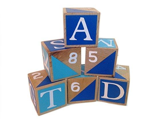 Blue and Teal Boys Wooden Alphabet Baby BlocksToddler Toy Blocks Learning Blocks Wood Block for Kids