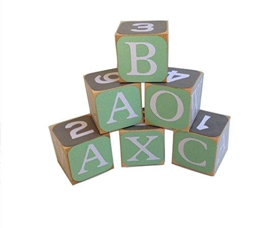 Green and Gray Wooden Alphabet Baby BlocksToddler Toy Blocks Learning Blocks Wood Block for Kids
