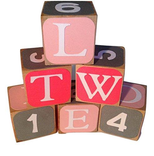 Pink Gray and Light Pink Round Edge Design Wooden Alphabet Baby BlocksToddler Toy Blocks Learning Blocks Wood Block for Kids