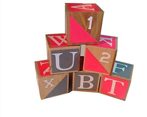 Pink and Gray Wooden Alphabet Baby BlocksToddler Toy Blocks Learning Blocks Wood Block for Kids