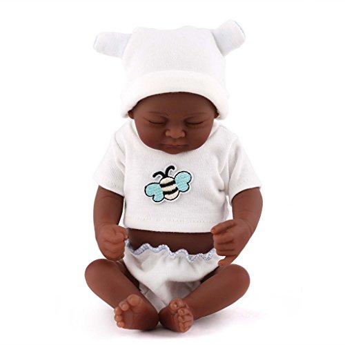 TERABITHIA Mini 10inch Black Cute Truly Alive Newborn African American Baby Dolls Silicone Full Body Washable for Girl