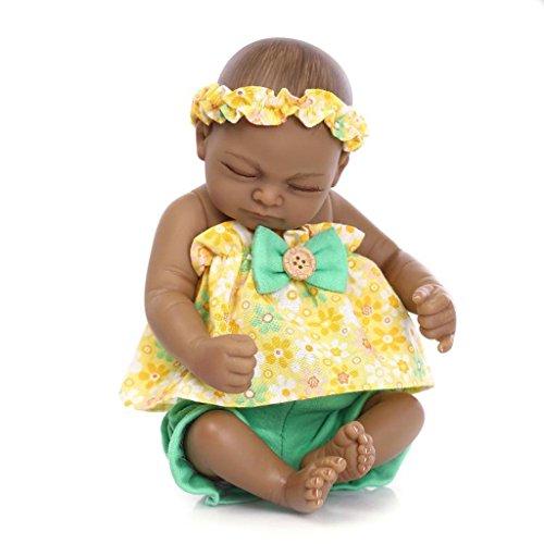 TERABITHIA Mini 11 Black Sweet Sleeping Alive Reborn Baby Dolls African American Silicone Full Body Girl
