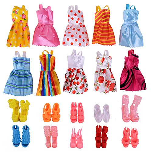 Fengirl 10 Pack Barbie Doll Clothes Wedding Party Gown Outfits with 10 Pairs Doll Shoes for Girls Birthday Christmas Gift