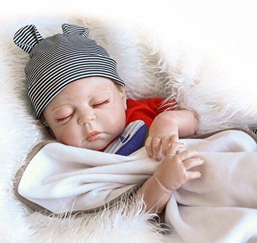 NPKTOYS Realistic Reborn Baby Boy Dolls Sleeping Full Body Vinyl Silicone 45cm 18 Inch Baby Doll