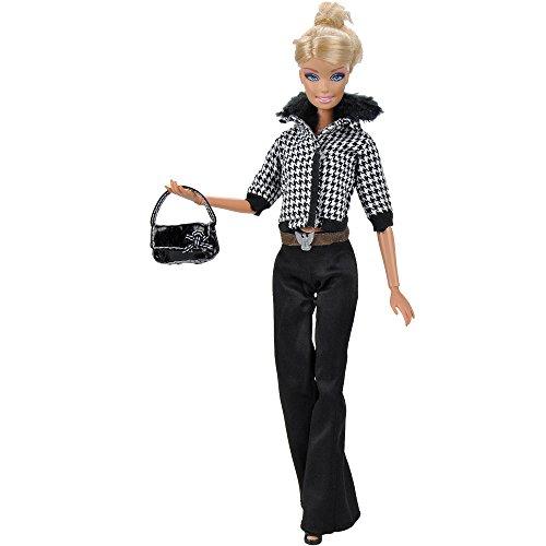 E-TING Fashion Doll Clothes Fur Collar Plaid Coat Pants And Handbag Shoes For Barbie Doll