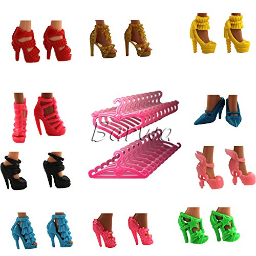 Barwa 20 Items  10 Fashion Differets Stlyes Shoes Boots and 10 Clothes Hangers for Barbie Doll Random Styles