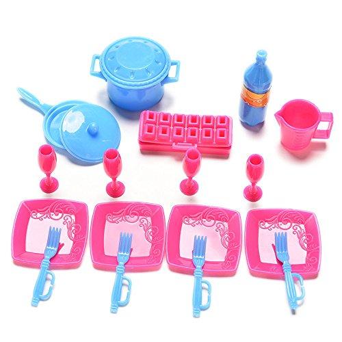 Great DealTM 18 Pcs Kids Dollhouse Kitchen Tablewares for Barbies