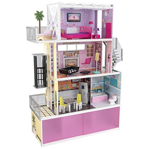 KidKraft Wooden Beachfront Mansion w 14 Furnitures Kids Doll House for 12 Doll