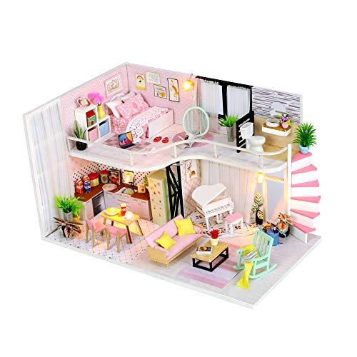 DIY Dollhouse Kit Miniatures DIY Craft Kits Pink Loft Model WifeGirl Friend ChristmasBirthdayGift Toy House with Led Lights House Modern Dollhouse Kit DIY 3D Dollhouse Blue Mini House with Tools