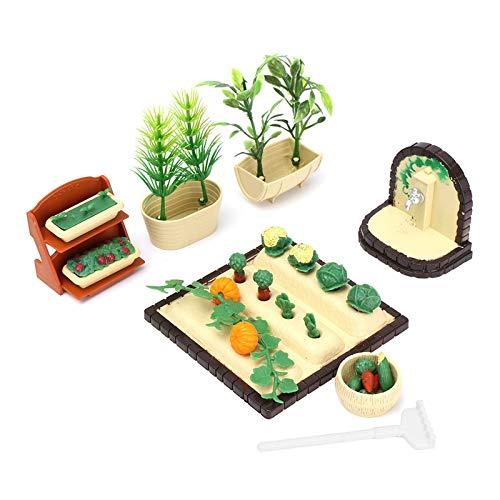 Figurines Miniatures - Modern Plastic Handmade Miniature Dollhouse Furniture Gardening Vegetables Outdoor Accessory Set Diy - Dollhouse Miniature Modern Wooden Dollhouse Furniture Chair Kit
