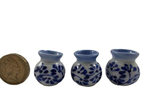 3Pc Lot Miniature Vase Ceramic set Vintage Dollhouse Furniture White and Blue
