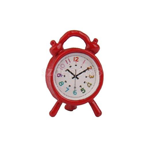 Vintage Dollhouse Miniature Bedroom Accessory Red Metal Alarm Clock 112 Scale