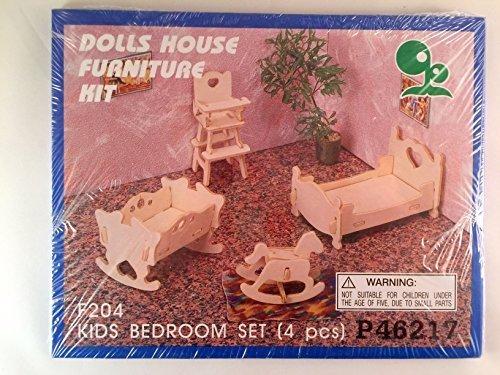 Doll House Furniture Kit - Wooden - Kids Bedroom Set 4 Pcs