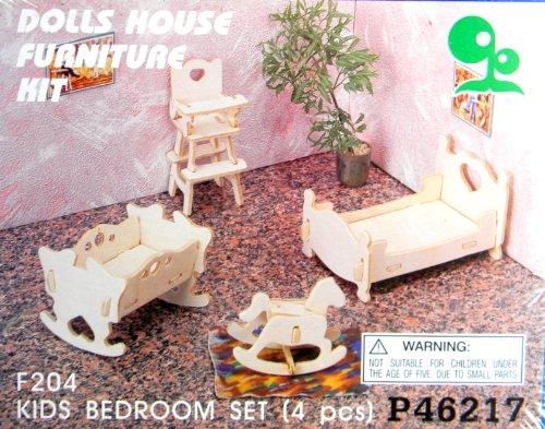 Dolls House Furniture Kit Kids Bedroom Set 4 pcs