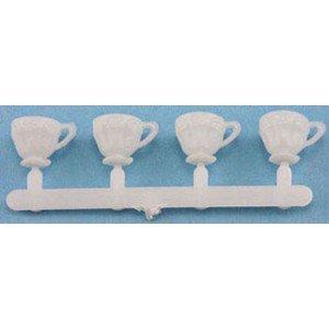 Dollhouse 4 Pk White Plastic Cups