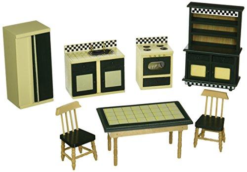 Melissa Doug Doll-House Kitchen Furniture Set of 7 Buttery YellowDeep Green