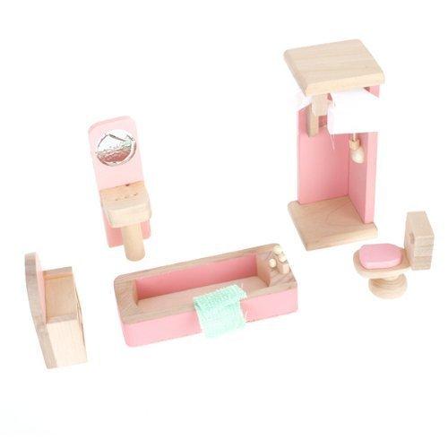 ANKKO Wooden Doll House Bathroom Set Toy