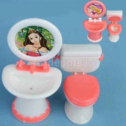 Dollhouse Bathroom Furniture Toilet Sink Mirror Playset for Dolls