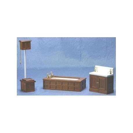 Dollhouse Bathroom set Victorian Wood 3pc by Classics