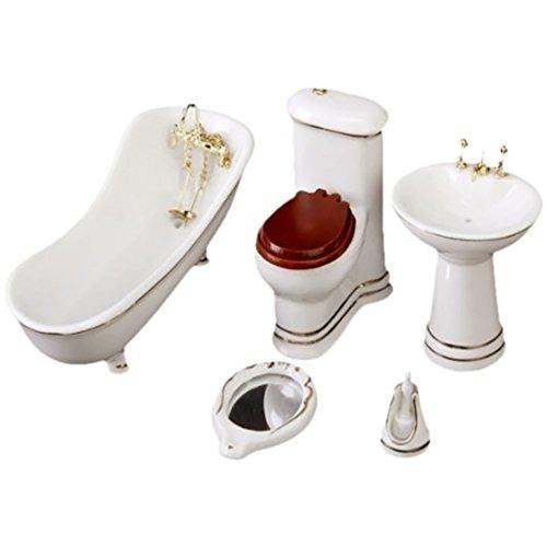 GogoForward 112 Dollhouse Bathroom Set 5PCS Bathtub Basin Toilet Mirror Toilet Brush Stand