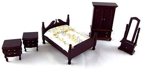Melody Jane Dolls house 124 Scale Miniature Dark Oak Wooden Victorian Bedroom Furniture Set