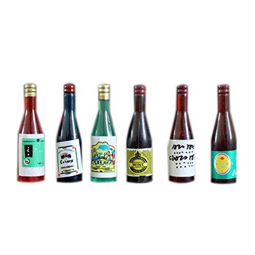 Dimart Kitchen Drink 6 Pcs Wine Juice Bottles - 112 Dollhouse Miniature Furniture - Multicolor