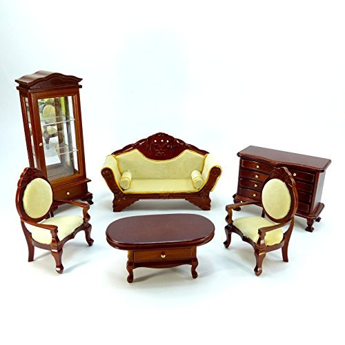 Wooden miniature furniture set gorgeous living Anteiku style DH-026 doll house play house sofa table shelf