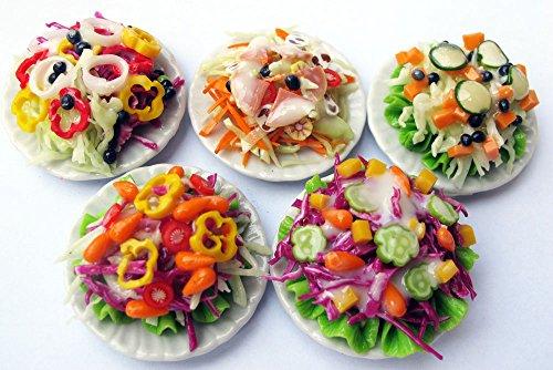 Mixed Assorted 5 Salad Dollhouse Miniature Food