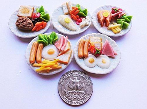 Thai 5 Mix Breakfast Egg Steak Dollhouse Miniature FoodTiny Food Doll CollectiblesDoll Food