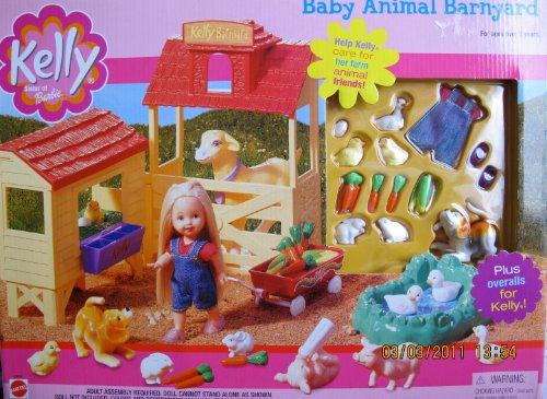 Barbie KELLY Baby Animal Barnyard Playset w Water Pond Animals Hen House MORE 2001