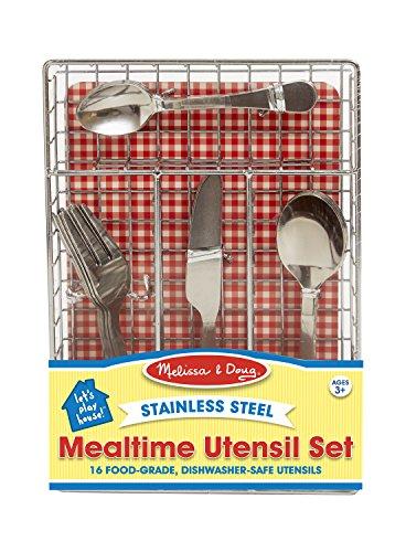 Melissa Doug Stainless Steel Mealtime Utensil Set - Dishwasher-Safe Play Kitchen Accessories