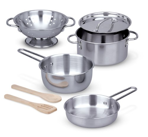 Melissa Doug Stainless Steel Pots and Pans Pretend Play Kitchen Set for Kids 8 pcs