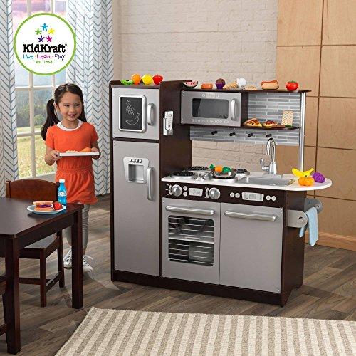 KidKraft Uptown Espresso Wooden Play Kitchen with 30-Piece Play Food Set