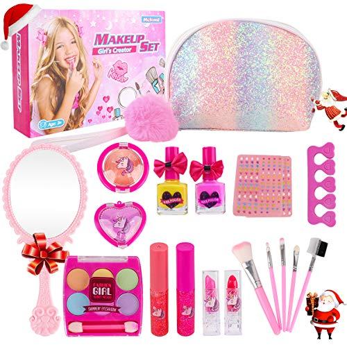 Girl Makeup Kit - Kids Real Washable Play Makeup Toy for Toddler Gifts Age 2 3 4 5 6 7 Child Pretend Princess Cosmetics Set with Glitter Purse Nail Polish Make up Brush Eyeshadow Lip Gloss Blush