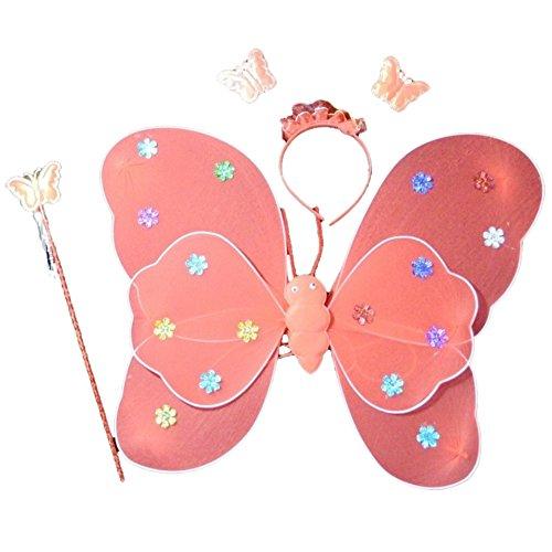 BOBORA Fairy Butterfly Costume Wings Wand Headband Set Kids Halloween Costume