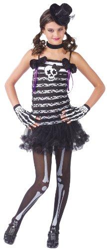 Fun World Girls Skeleton Cute Goth Kids Halloween Costume M