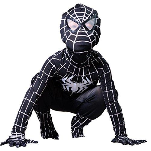 Boys Venom Black Spiderman Costume Kids Superhero Cosplay Spandex Bodysuit Large
