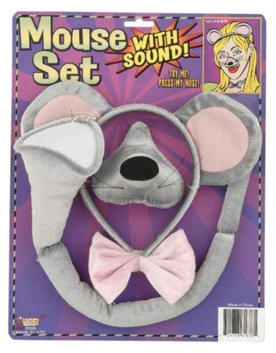 Forum Novelties Animal Costume Set Gray Mouse Ears Nose Tail with Sound Effects