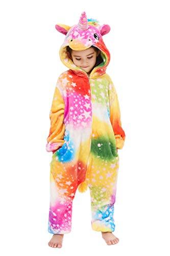 Kids Pajamas One Piece Cosplay Rainbow Star Unicorn Animal Costume 4-5 Years