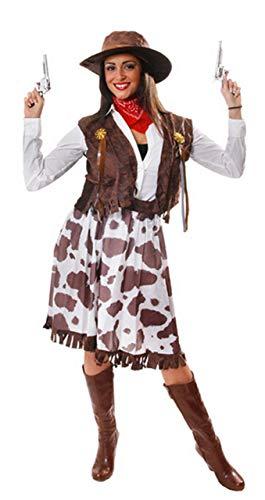 5 Piece Ladies Wild West Jessie Cowgirl Cowboy Sheriff Fancy Dress Costume Outfit STD Plus Size Plus UK 16-20