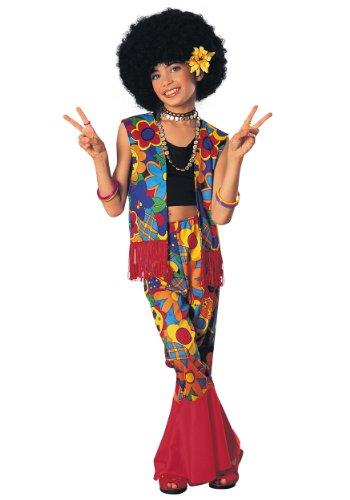 Big Girls Flower Power Hippie Costume Large