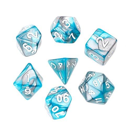 OTGO 7pcsSet D4-D20 Portable Acrylic Polyhedral Dice Table Gaming Dice SetSky Blue